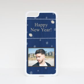 Печать шаблона «Happy New Year - 2020» на плоских чехлах для iPhone 6 Plus